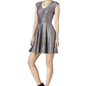 Bar III Metallic Cap Sleeve Dress